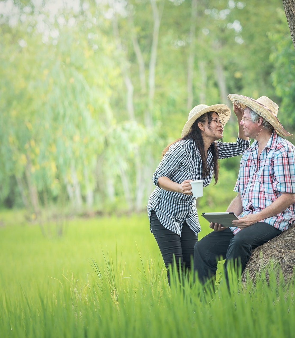 Couple enjoying time in the countryside.